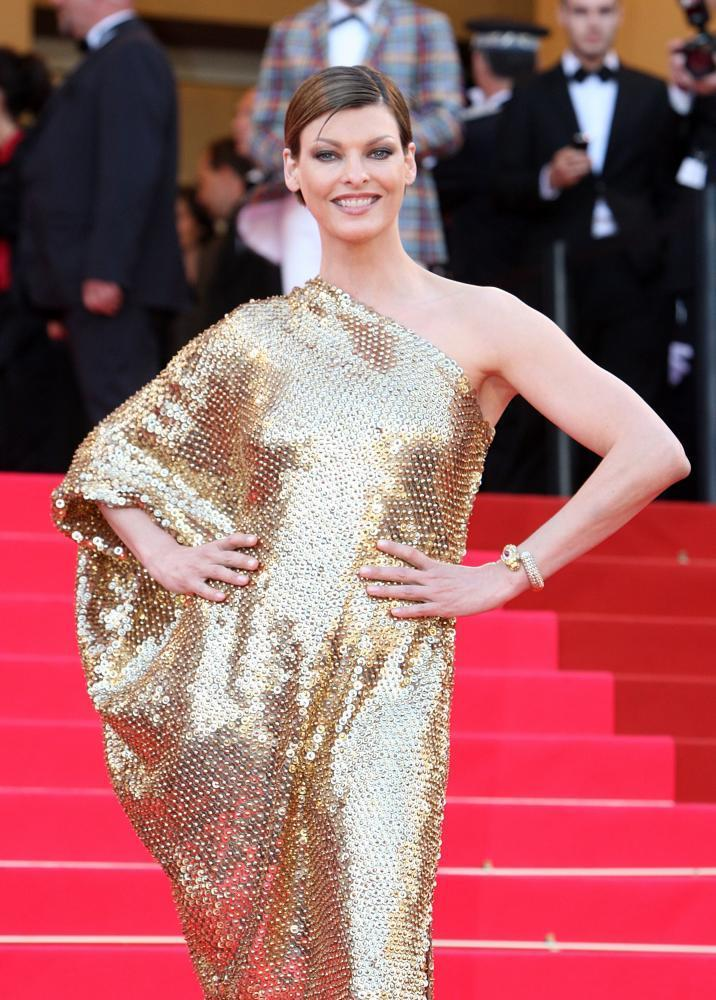 Linda Evangelista in 2008 at the screening of Indiana Jones and the Kingdom of the Crystal Skull in Cannes.