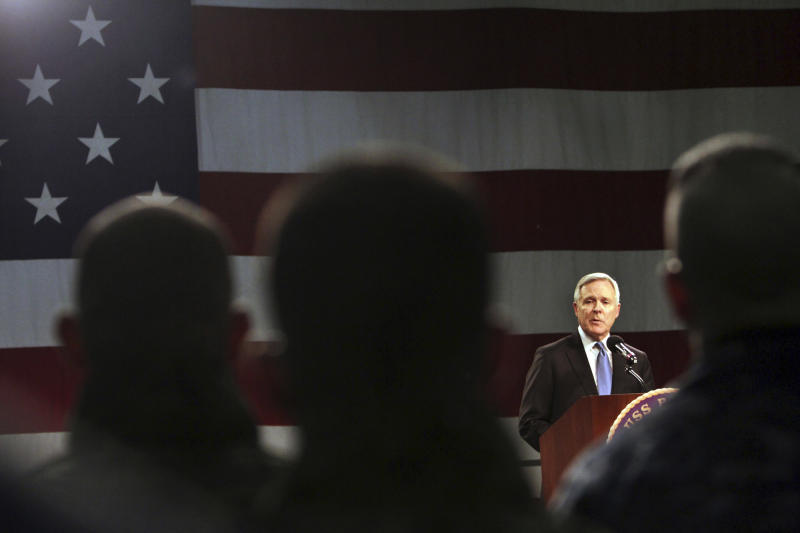"""Navy Secretary Ray Mabus addresses sailors and Marines aboard the LHD Bataan at Norfolk Naval Station in Norfolk, Va., on Monday, March 5, 2012, during an """"all hands"""" call that was televised and streamed live worldwide. Mabus outlined new initiatives in five areas, including responsible use of alcohol and reducing sexual assaults and suicides. (AP Photo/Virginian-Pilot, Vicki Cronis-Nohe) MAGS OUT"""