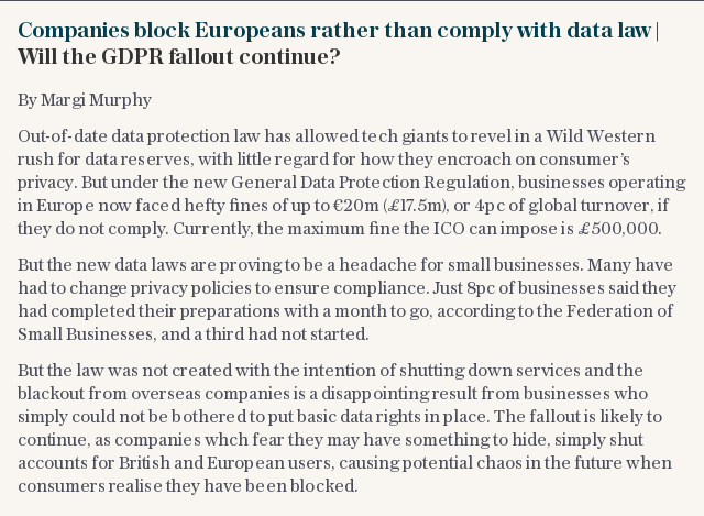 Companies block Europeans rather than comply with data law | Will the GDPR fallout continue?