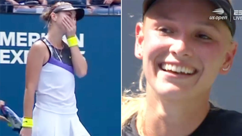 Donna Vekic, pictured here laughing after the crazy winner.