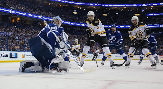 The Bruins are struggling against the Lightning, and some line adjustments are certainly in order. (Getty)