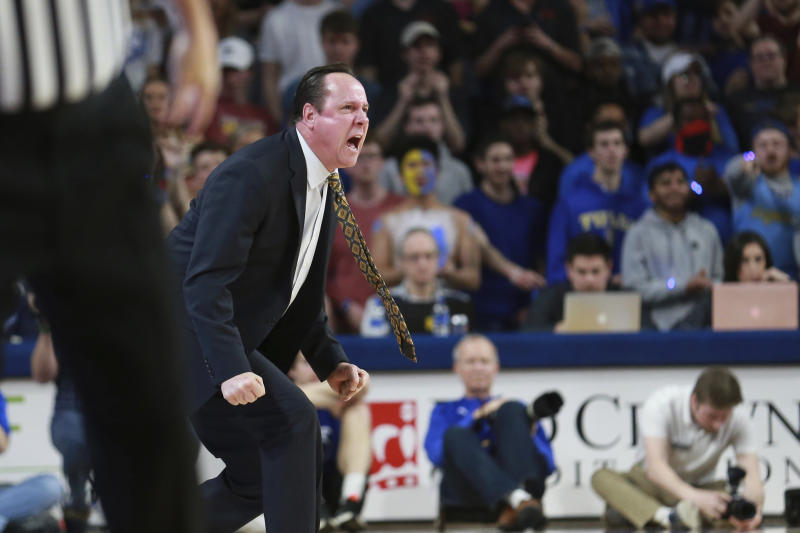 Wichita State head coach Gregg Marshall instructs his players against Tulsa in the first half of an NCAA college basketball game in Tulsa, Okla., Saturday, Feb. 1, 2020. (AP Photo/Joey Johnson)
