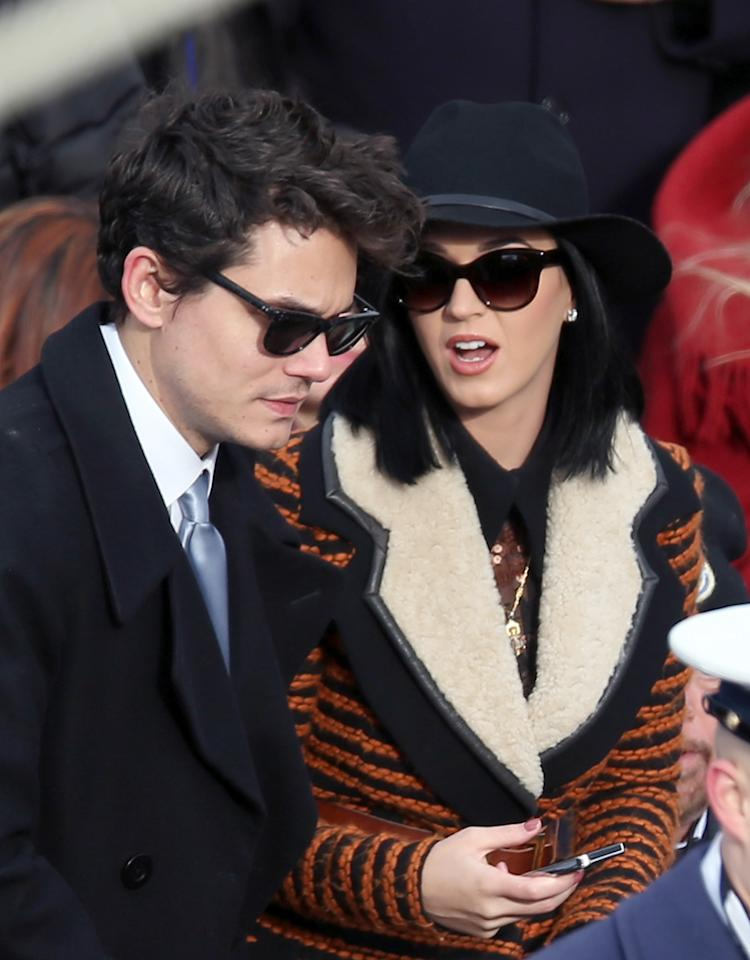 WASHINGTON, DC - JANUARY 21:  Musicians John Mayer and Katy Perry attend the presidential inauguration on the West Front of the U.S. Capitol January 21, 2013 in Washington, DC.   Barack Obama was re-elected for a second term as President of the United States.  (Photo by Alex Wong/Getty Images)