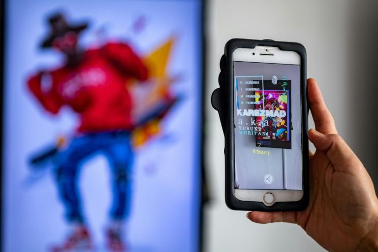 Some digital works featured at CrypTokyo have augmented reality features, coming alive when viewed through a smartphone screen
