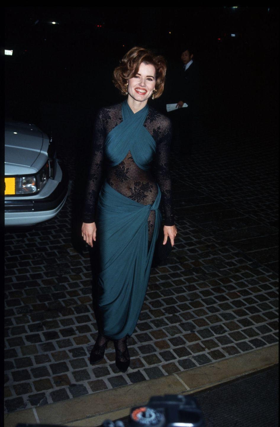 <p>The actress, writer, and film producer stunned in a sexy blue dress with sheer lace panels in 1992. </p>