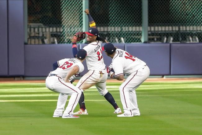 Pache in Braves lineup with Duvall out, LA's Pederson at DH