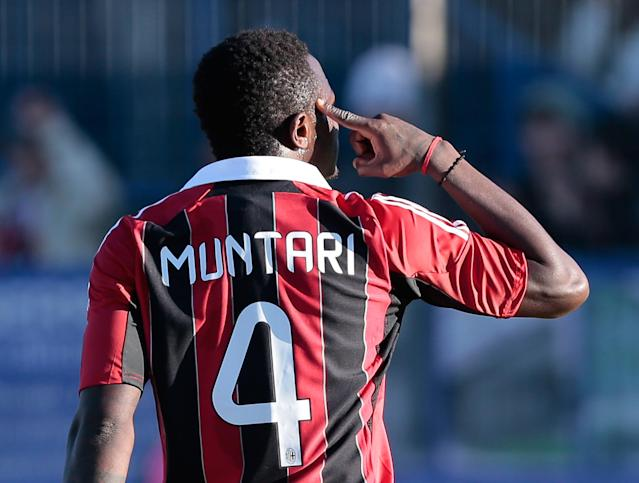 Fellow midfielder Sulley Muntari and teammates Urby Emanuelson and M'Baye Niang were also targeted by the chants. (AP Photo/Emilio Andreoli)