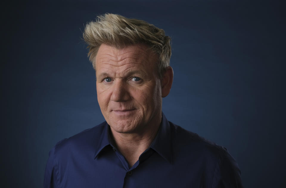 """This July 24, 2019 photo shows chef and TV personality Gordon Ramsay posing for a portrait to promote his National Geographic television series """"Gordon Ramsay: Uncharted,"""" during the 2019 Television Critics Association Summer Press Tour at the Beverly Hilton in Beverly Hills, Calif. (Photo by Chris Pizzello/Invision/AP)"""