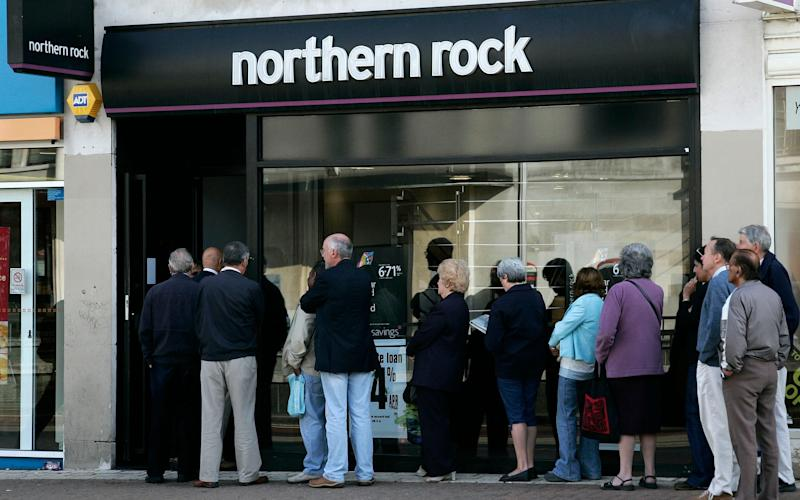 Northern Rock's collapse ten years ago was one of the first signs of the coming financial crisis - AP