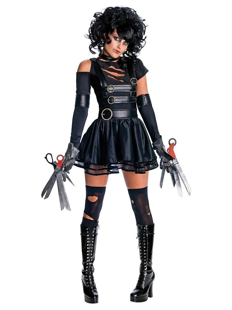 """This <a href=""""https://www.costumesupercenter.com/products/sexy-womens-miss-edward-scissorhands-costume"""" target=""""_blank"""">Sexy Edward Scissorhands</a> get-up sends mixed messages. It definitely has a certain goth girl appeal, but those scissors on the costume look sharp and might scare people away. Of course, that might be a good thing."""