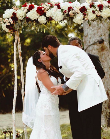 "<p>Evans, who was previously married to Courtland Rogers, also posted a pic that showed her kissing her groom. And, yes, their wedding had an official hashtag: #EvansToEason. (Photo: <a href=""https://www.instagram.com/p/BZdhip_BnoV/?hl=en&taken-by=easondavid88"" rel=""nofollow noopener"" target=""_blank"" data-ylk=""slk:David Eason via Instagram"" class=""link rapid-noclick-resp"">David Eason via Instagram</a>) </p>"