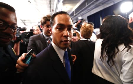 "Former U.S. Housing Secretary Julian Castro walks in the ""Spin Room"" following the conclusion of the third 2020 Democratic U.S. presidential debate in Houston, Texas, U.S."