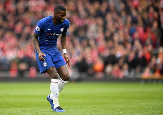 Antonio Rudiger limped off in the first half. (Credit: Getty Images)