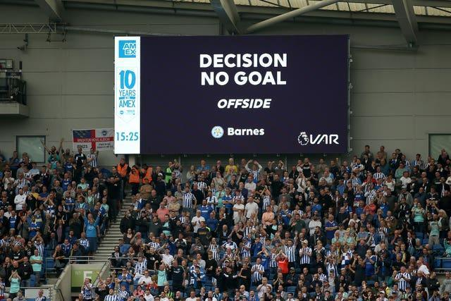 VAR rules out a Leicester goal