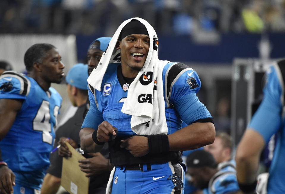 Cam Newton was mostly all smiles in the 2015 season, when he was NFL MVP as Carolina's starting QB. (AP Photo/Michael Ainsworth)