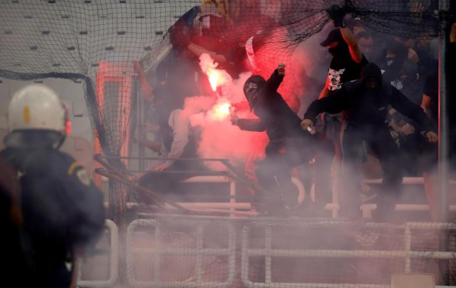 Soccer Football - Greek Cup Final - AEK Athens vs PAOK Salonika - Athens Olympic Stadium, Athens, Greece - May 12, 2018 Fans with flares before the match REUTERS/Alkis Konstantinidis