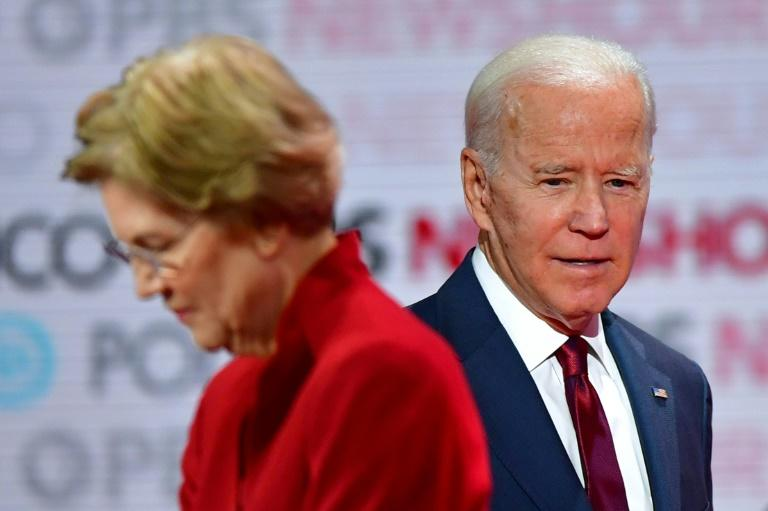 Democratic presidential hopefuls Massachusetts Senator Elizabeth Warren (L) and former Vice President Joe Biden have come in for especially rough treatment from Trump (AFP Photo/Frederic J. Brown)