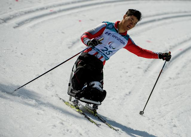 Feixiang Huang CHN competes in the Cross-Country Skiing Sitting Men's 1.1km Sprint at the Alpensia Biathlon Centre. The Paralympic Winter Games, PyeongChang, South Korea, Wednesday 14th March 2018. OIS/IOC/Thomas Lovelock/Handout via REUTERS