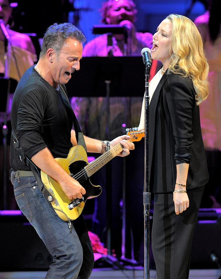 """The night's unannounced performer, Bruce Springsteen, belted out his 1984 hit """"Dancing in the Dark"""" with Hudson on backing vocals. The <i>New York Times</i> reports that when Sting told him the theme was '80s nostalgia, The Boss responded, """"Sting, <i>we're</i> '80s nostalgia."""" Kevin Mazur/<a href=""""http://www.wireimage.com"""" target=""""new"""">WireImage.com</a> - May 13, 2010"""