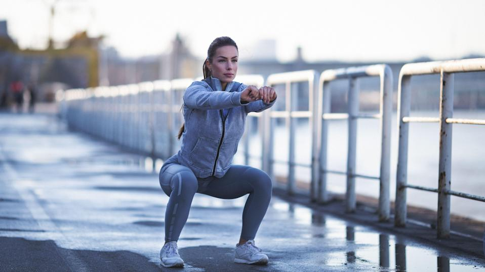 """<p>It's no secret that consistent running puts some serious stress on the body, so before you step into the high-impact activity, it's best to prime your muscles and joints for movement with a quick pre-run stretch routine.</p><p>""""Running places a huge demand on the body-up to eight times your bodyweight-depending on pace,"""" says Blake Dircksen, DPT, CSCS, a physical therapist at <a rel=""""nofollow noopener"""" href=""""http://www.bespoketreatments.com/"""" target=""""_blank"""" data-ylk=""""slk:Bespoke Treatments Physical Therapy"""" class=""""link rapid-noclick-resp"""">Bespoke Treatments Physical Therapy</a> in New York City. """"You need to prepare your body to handle that load to reduce risk of injury. And a proper warm-up preps the body by increasing blood flow to the working tissues,"""" he says. """"It also increases the core body temperature and gets the muscles and tendons ready for rapid force development.""""</p><p><strong>How to stretch before running</strong></p><p>You don't need a ton of time to put these pay-offs in motion. A max of 10 minutes will do-about five if you're on a tight schedule. If you have a few extra minutes, start with <a rel=""""nofollow noopener"""" href=""""https://www.prevention.com/fitness/a20511960/foam-roller-exercises-to-help-sore-muscles/"""" target=""""_blank"""" data-ylk=""""slk:foam rolling"""" class=""""link rapid-noclick-resp"""">foam rolling</a> the major muscle groups, including your glutes, quads, hamstrings and calves, Dircksen suggests. Then, work on muscle activation with <a rel=""""nofollow noopener"""" href=""""https://www.prevention.com/fitness/a20512162/exercise-with-resistance-bands/"""" target=""""_blank"""" data-ylk=""""slk:band work"""" class=""""link rapid-noclick-resp"""">band work</a> or dynamic bodyweight movements. """"Reviews show that holding a static stretch for longer than 45 seconds either negatively influences maximal strength and power or has no effect on performance,"""" Dircksen explains. Translation: Save long stretches for a post-sweat cool-down and power up on dynamic stretches pre-run. </p><p>T"""