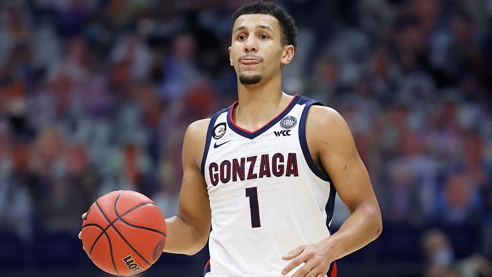 Seen here, Jalen Suggs was taken by Orlando Magic with pick five in the NBA Draft.