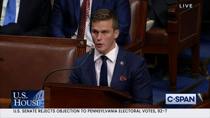 Rep. Madison Cawthorn speaks on House Floor before the vote on certification of Pennsylvania's electoral votes.