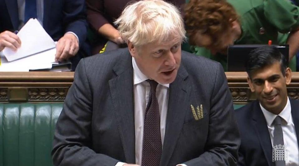 Prime Minister Boris Johnson speaks during Prime Minister's Questions in the House of Commons, London (House of Commons/PA) (PA Wire)