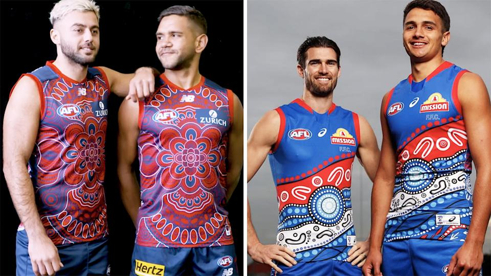 The AFL ruled that the Indigenous jumper designs for Melbourne and the Western Bulldogs clashed too much, leaving many fans confused. Pictures: Melbourne Demons/Western Bulldogs