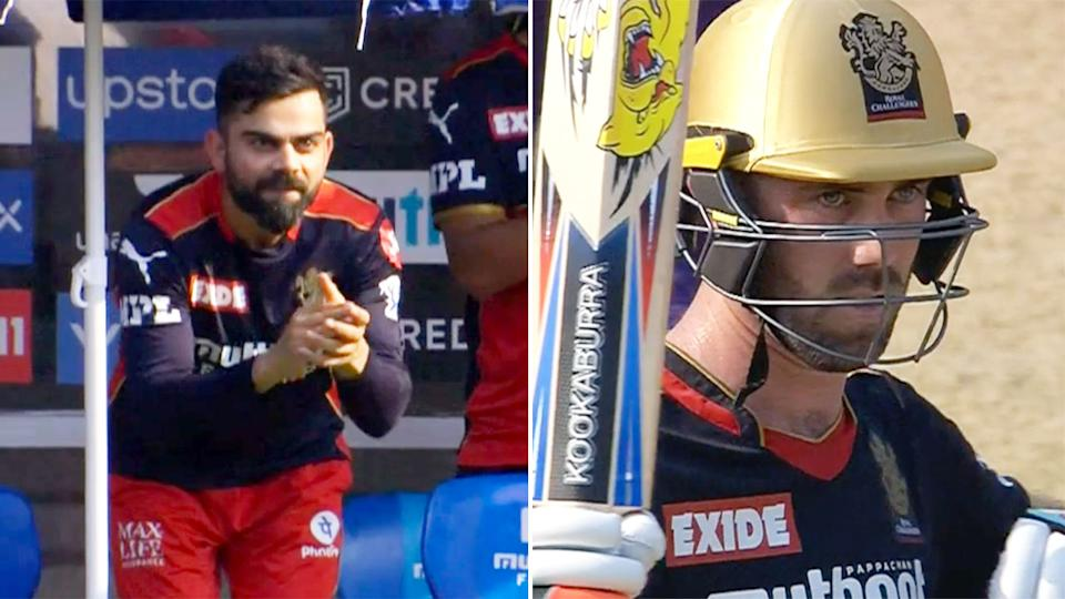 Virat Kohli heaped praise on Glenn Maxwell after the Aussie's latest display for Bangalore. Pic: IPL
