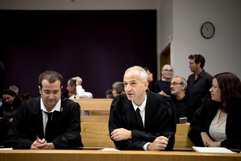 Attorneys Eitay Mack and Yaron Hanin attend a court hearing on Amnesty International's legal bid to have Israel revoke the export license of the Israeli NSO surveillance firm, at Tel Aviv's District Court, Israel