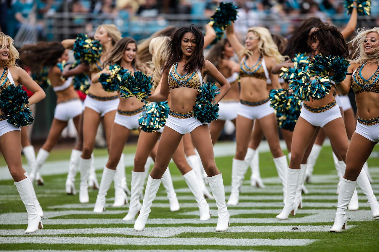 <p>Members of The Roar, the Jacksonville Jaguars cheerleading squad, perform during the game between the Indianapolis Colts and the Jacksonville Jaguars on December 3, 2017 at EverBank Field in Jacksonville, Fl. (Photo by David Rosenblum/Icon Sportswire via Getty Images) </p>