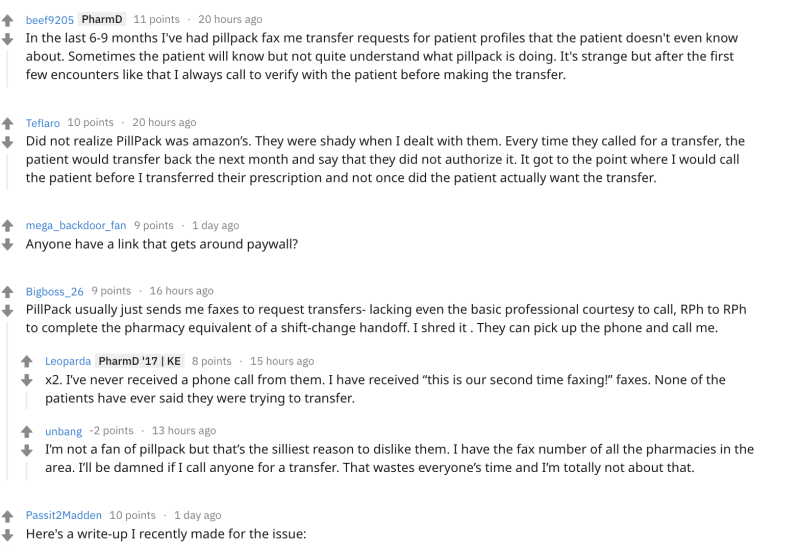 Reddit thread showing pharmacists discussing PillPack
