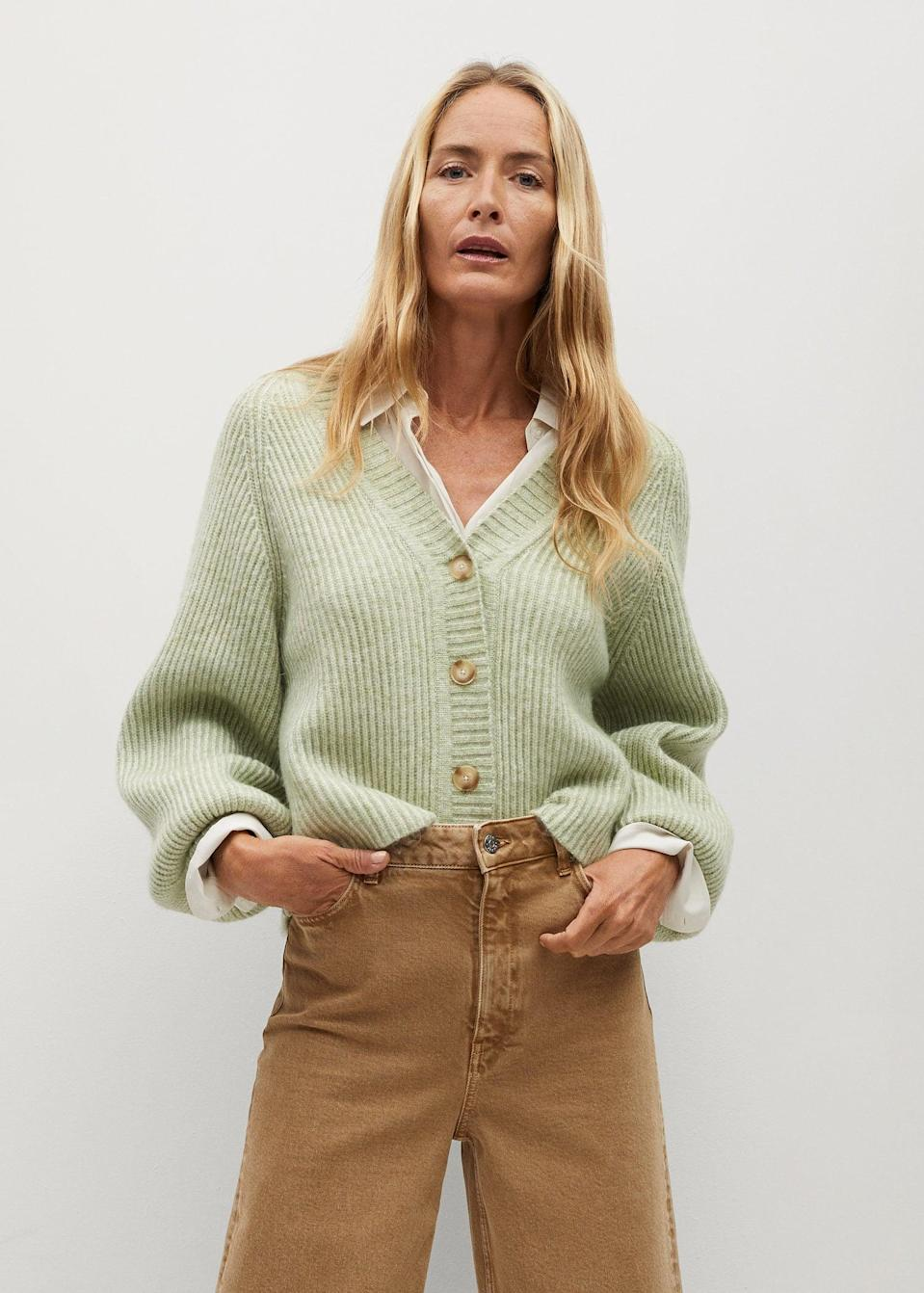 <p>Layer this <span>Buttoned Ribbed Cardigan</span> ($60) over a long-sleeved blouse, or toss it on last minute.</p>