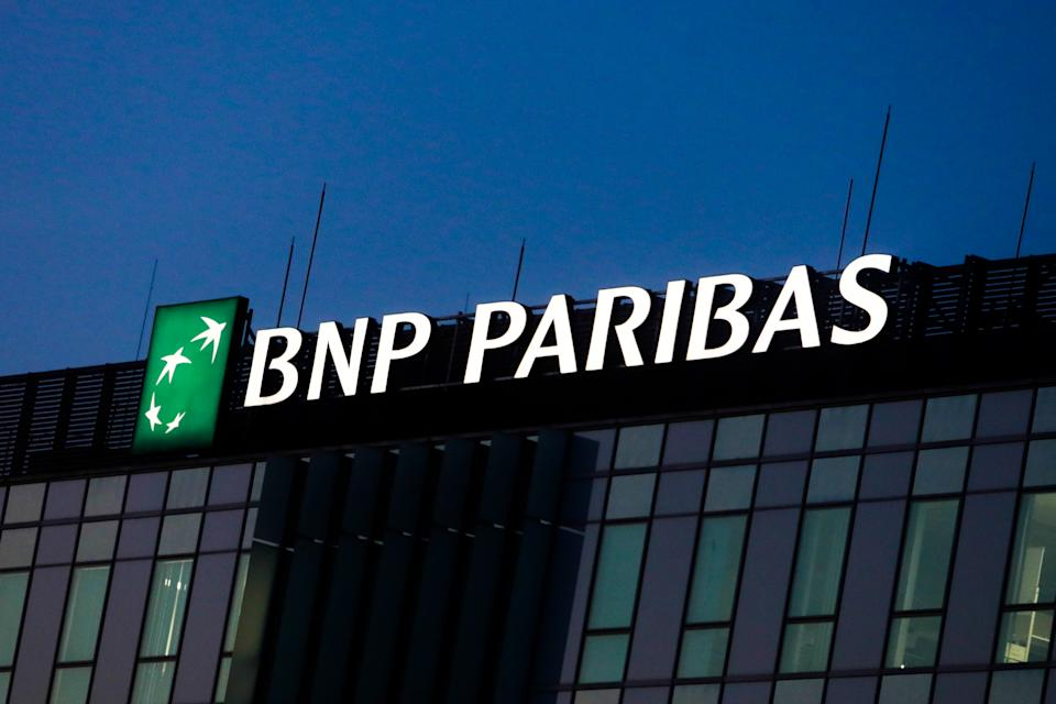 BNP Paribas logo is seen on the office building in Krakow, Poland on December 1, 2020. (Photo by Jakub Porzycki/NurPhoto via Getty Images)