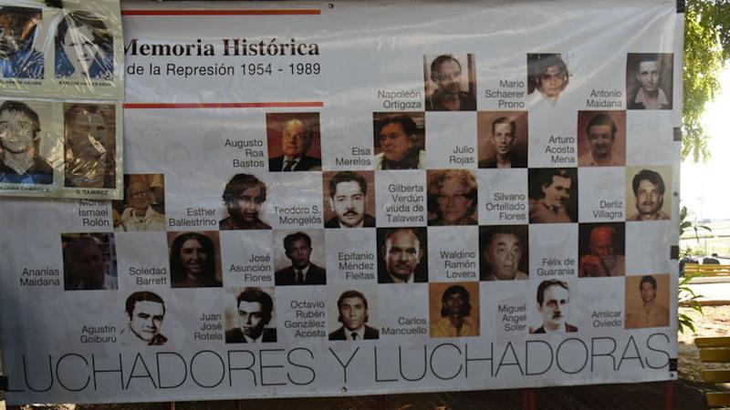 A poster with the victims of the Alfredo Stroessner regime