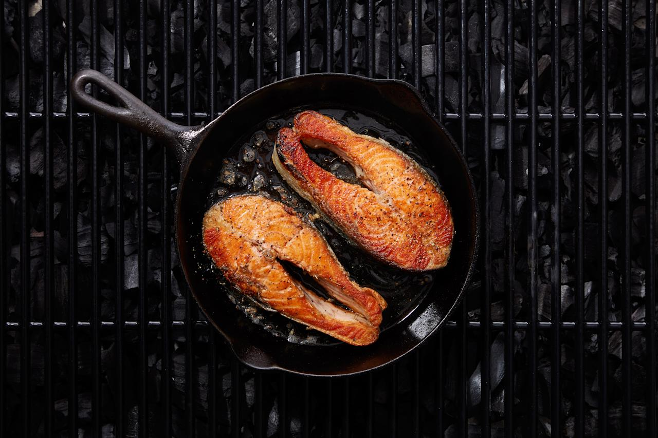 """Everything a cast-iron skillet can do on the stove or in the oven, it can do just as well on the coals. <a href=""""https://www.epicurious.com/expert-advice/cook-in-a-skillet-on-the-grill-article?mbid=synd_yahoo_rss"""">See article.</a>"""