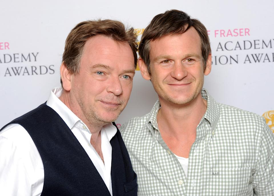 Adam Woodyatt (L) and Dominic Treadwell-Collins attend the BAFTA Nominees Party at The Corinthia Hotel on April 22, 2015 in London, England.  (Photo by Dave J Hogan/Getty Images)