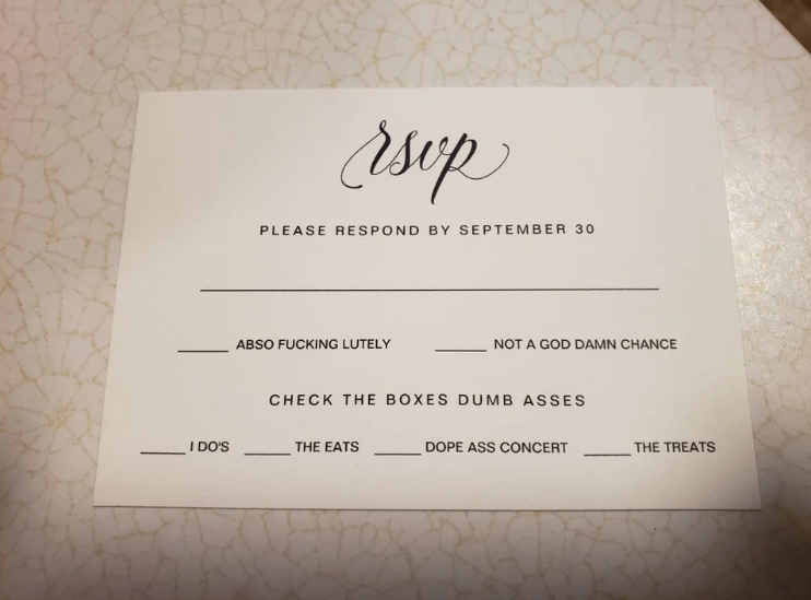 Some users called the invitation 'trashy'. Photo: Reddit