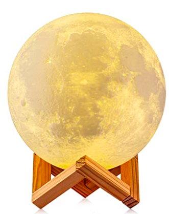 """<h2>Moon Lamp<br></h2><br>This moon lamp is just over 4-inches, and can change into 16 color options on your (or the remote timer's) command. <br><br><strong>DTOETKD</strong> Moon Lamp, $, available at <a href=""""https://www.amazon.com/Printing-Control-Rechargeable-Diameter-Lover-Birthday/dp/B07H7DSHR5"""" rel=""""nofollow noopener"""" target=""""_blank"""" data-ylk=""""slk:Amazon"""" class=""""link rapid-noclick-resp"""">Amazon</a>"""