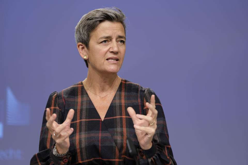 BRUSSELS, BELGIUM - OCTOBER 7: EU Commissioner for A Europe Fit for the Digital Age - Executive Vice President Margrethe Vestager is talking to media about 'commitments by Broadcom to ensure competition in chipset markets for modems and set-top boxes' in the Berlaymont, the EU Commission headquarter on October 7, 2020, in Brussels, Belgium. M. Vestager said: 'Today's decision legally binds Broadcom to respect the commitments. They will ensure that existing chipset makers competing with Broadcom and potential new entrants will be able to compete on the merits. Producers of set-top-boxes and Internet modems, telecom and cable operators and ultimately consumers will benefit from competition between chipmakers in terms of lower prices and more innovative products.' (Photo by Thierry Monasse/Getty Images)