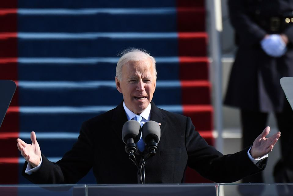 TOPSHOT - US President Joe Biden delivers his inauguration speech on January 20, 2021, at the US Capitol in Washington, DC. - Biden was sworn in as the 46th president of the US. (Photo by ANDREW CABALLERO-REYNOLDS / AFP) (Photo by ANDREW CABALLERO-REYNOLDS/AFP via Getty Images)