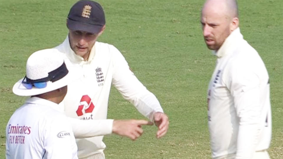 Joe Root and Jack Leach, pictured here remonstrating with the on-field umpire.