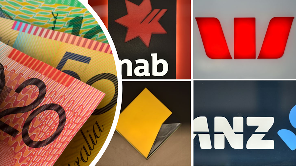 Australian money and logos for the big four banks
