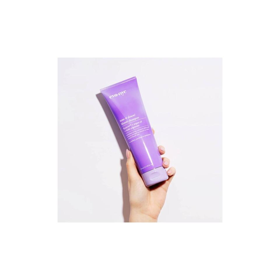 """<p>If you're looking for an affordable choice that you can find at the drugstore, get the popular <product href=""""https://www.target.com/p/eva-nyc-blonde-shampoo-8-5-fl-oz/-/A-76557270"""" target=""""_blank"""" class=""""ga-track"""" data-ga-category=""""internal click"""" data-ga-label=""""https://www.target.com/p/eva-nyc-blonde-shampoo-8-5-fl-oz/-/A-76557270"""" data-ga-action=""""body text link"""">Eva NYC Blonde Shampoo</product> ($12). The toning shampoo currently has a five star rating and over 90 reviews.</p>"""