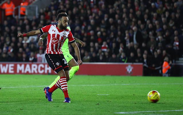 <p>Nathan Redmond lashes the ball beyond the Liverpool keeper to give the hosts the lead (Getty Images) </p>