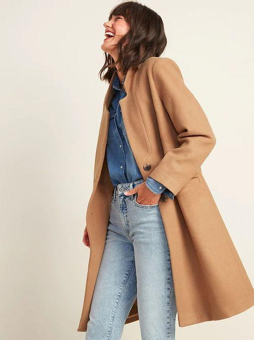 """This Oversized Soft-Brushed Overcoat for Women is available in sizes XS to XXL and two colors. <a href=""""https://fave.co/3lqhKTC"""" target=""""_blank"""" rel=""""noopener noreferrer"""">Get it on sale for 50% off (normally $75) at Old Navy</a>."""