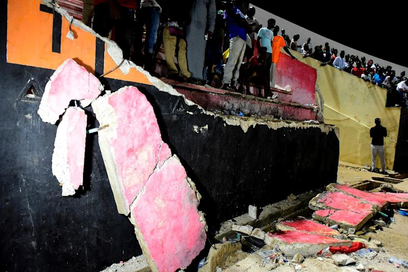 A wall collapsed in a Dakar stadium during an end of the League Cup final between Stade de Mbour and US Ouakam (AFP Photo/SEYLLOU)