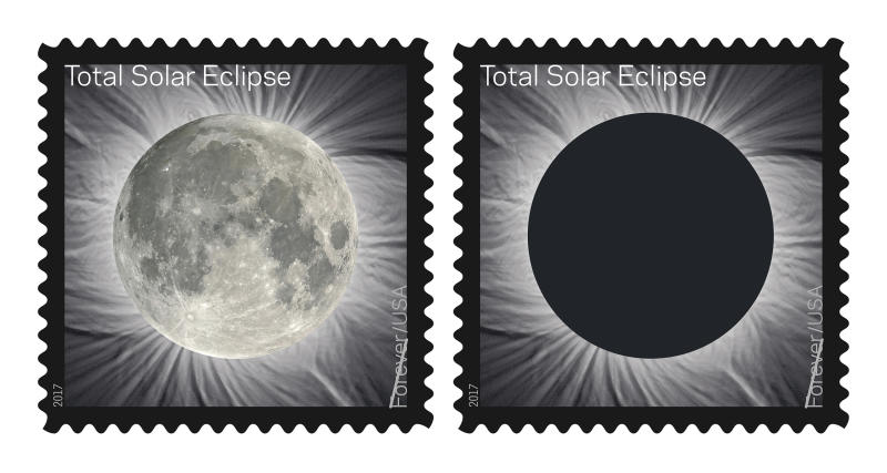 These images provided by the U.S. Postal Service shows The Total Solar Eclipse Forever stamp. The Postal Service will soon release a first-of-its-kind stamp that changes when you touch it, which commemorates the Aug. 21 eclipse, transforming into an image of the Moon from the heat of a finger. (U.S. Postal Service via AP)
