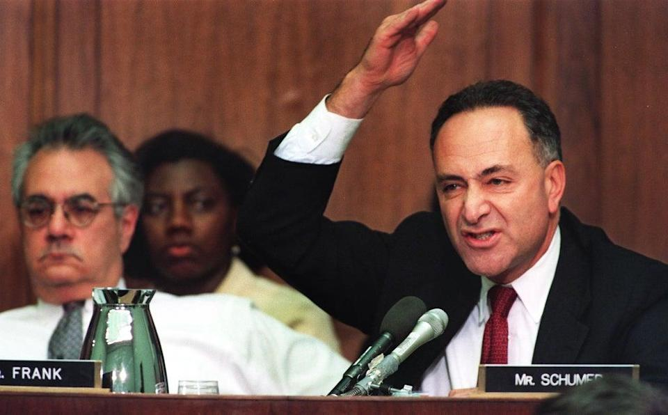 Then-Representive-elect Chuck Schumer, a Democrat from New York, argues for a no-vote on the first article of impeachment against Bill Clinton on 11 December 1998 on Capitol Hill in Washington, DC (PAUL J RICHARDS/AFP via Getty Images)