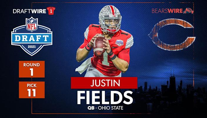 The Chicago Bears select Justin Fields with the 11th overall pick